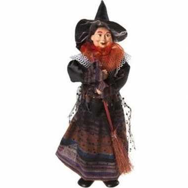 Halloween heks versiering pop oranje/zwart 25 cm halloween versiering