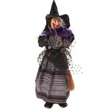 Halloween heks versiering pop paars/zwart 25 cm halloween versiering