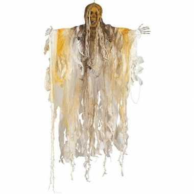 Halloween skelet/heks hangversiering pop wit 140 cm met licht hallowe