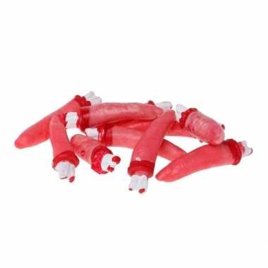 Halloween versiering bloederige vingers 5 stuks