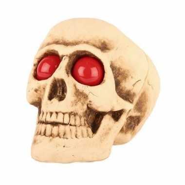 Halloween versiering halloween schedel met lichtgevende ogen