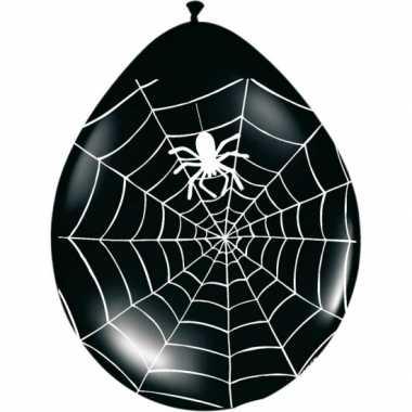 Halloween zwarte ballonnen met spinnenweb 8 stuks halloween versierin