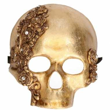 Handgemaakt versiering masker gouden schedel