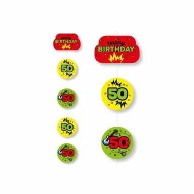 Hangversiering 50 jaar geel/groen