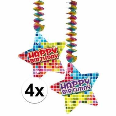 Hangversiering happy birthday jaar 4 stuks