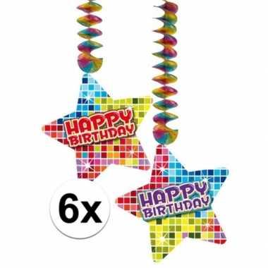 Hangversiering happy birthday jaar 6 stuks