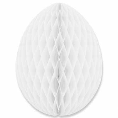 Hangversiering honeycomb paasei wit van papier 30 cm