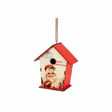 Hangversiering kerst vogelhuisje 12 cm