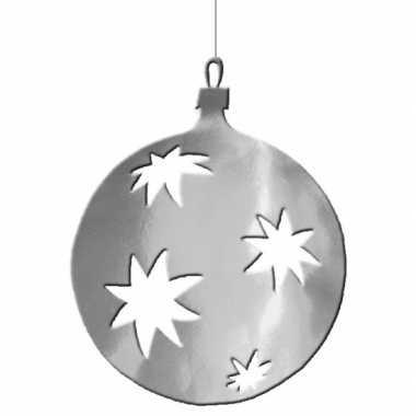 Hangversiering kerstbal zilver 40 cm