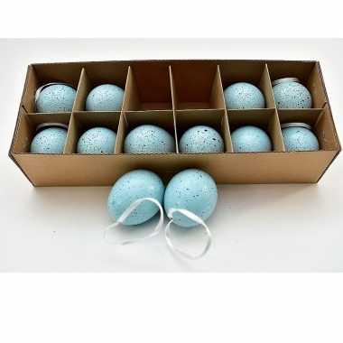 Hangversiering kippen eieren blauw met lint 12 stuks