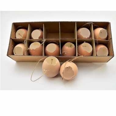 Hangversiering kippen eieren bruin 12 stuks