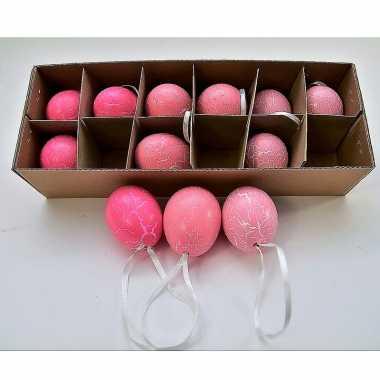 Hangversiering kippen eieren roze 12 stuks