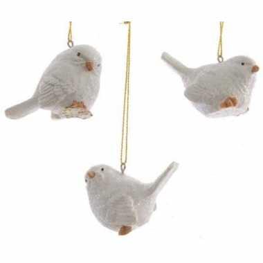 Hangversiering vogeltje wit 5 cm
