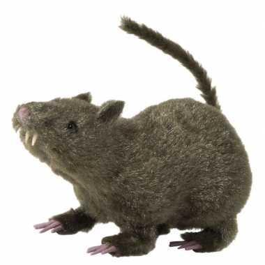 Harige versiering rat bruin 21 cm