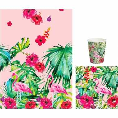 Hawaii thema tafelversiering set bekers/servetten/tafelkleed