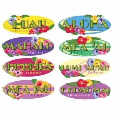 Hawaii thema versiering borden 8 stuks