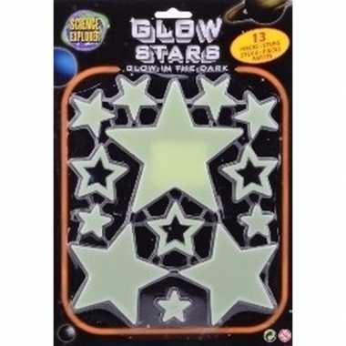 Heelal versiering glow in the dark sterren 13 stuks