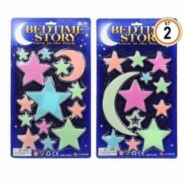 Heelal versiering glow in the dark sterren maan 14 stuks