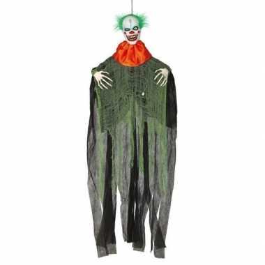 Horror clown met licht en geluid 180 cm halloween hangversiering