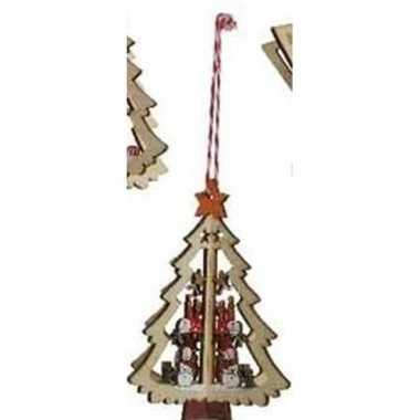 Houten boom met sneeuwpop kerstversiering hangversiering 10 cm