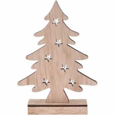 Houten kerstboompje versiering 28 cm met led verlichting