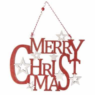 Houten kersthangers/hangversiering bordje merry christmas rood 35 cm