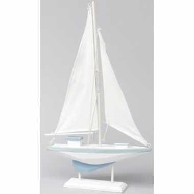 Houten versiering boot blauw wit 19 x 30 cm