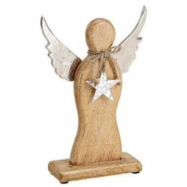 Houten versiering engel 27 cm