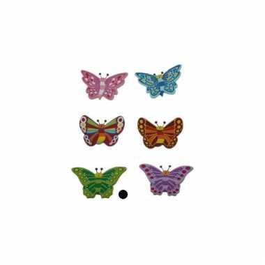Houten versiering vlinder groen
