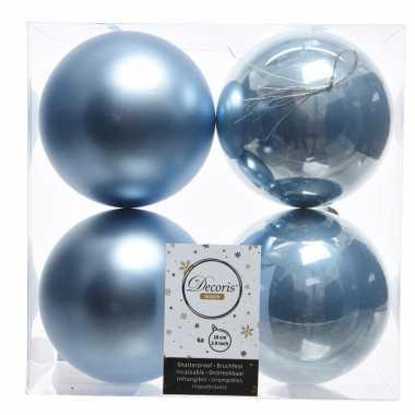 Ijsblauwe kerstversiering kerstballen 8x kunststof 10 cm