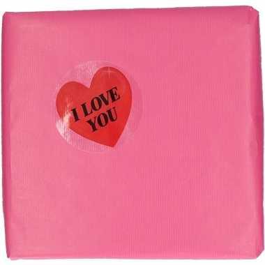 Inpakpapier versiering hart cadeausticker 9 cm