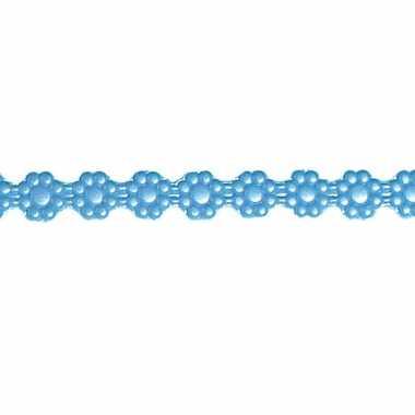 Kaars versiering lintje blauw met bloemen 24 x 1 cm