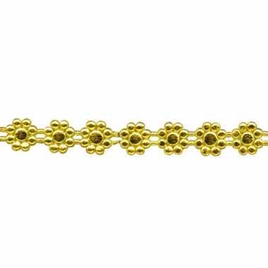 Kaars versiering lintje goud met bloemen 24 x 1 cm