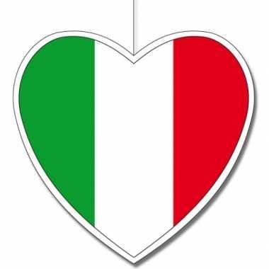 Kartonnen italie hangversiering hartjesvorm 14 cm