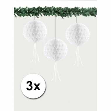 Kerst hangversiering bal wit 30 cm