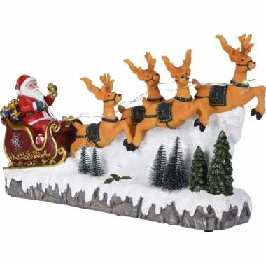 Kerst kerstman in rode slee beeldje 40 cm versiering met led