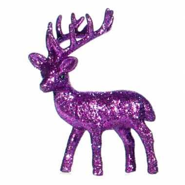 Kerst paarse rendier vensterbank versiering 10 cm