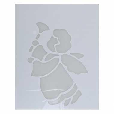 Kerst raamsjablonen/raamversiering engel met bel plaatjes 35 cm