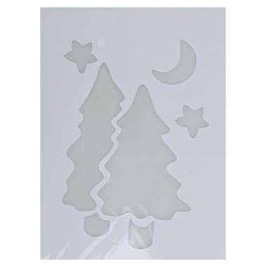 Kerst raamsjablonen/raamversiering kerstboom plaatjes 35 cm