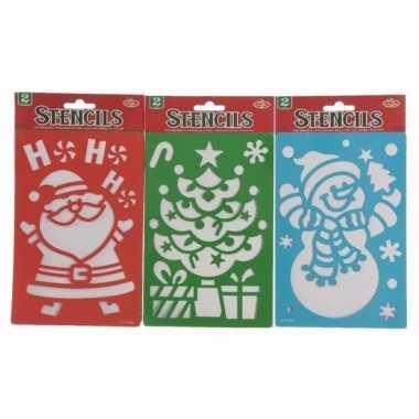 Kerst raamsjablonen/raamversiering kerstman/kerstkrans 25 cm