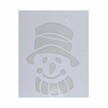 Kerst raamsjablonen/raamversiering sneeuwpop hoofd plaatjes 35 cm