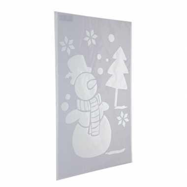 Kerst raamsjablonen/raamversiering sneeuwpop plaatjes 54 cm
