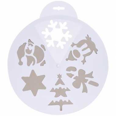 Kerst raamsjablonen/raamversiering winter / kerst print wit 30 cm