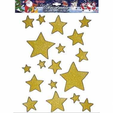 Kerst raamstickers/raamversiering gouden sterren plaatjes