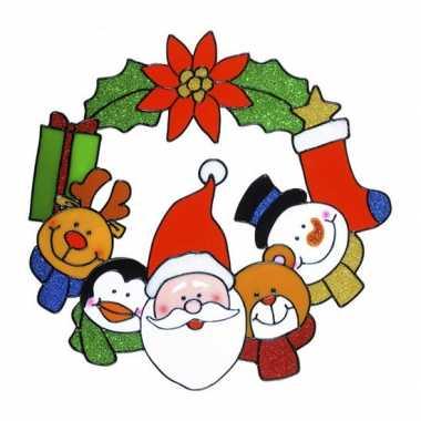 Kerst raamstickers/raamversiering kerstkrans plaatjes 30 cm