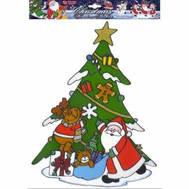 Kerst raamstickers/raamversiering kerstman/rendier plaatjes 40 cm