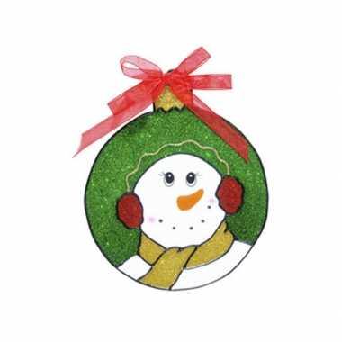 Kerst raamstickers/raamversiering sneeuwpop plaatjes 18 cm