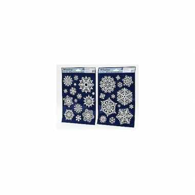 Kerst raamstickers raamversiering sneeuwvlokken plaatjes 20x30 cm