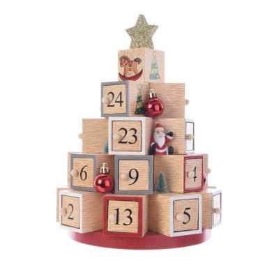 Kerst versiering adventskalender kerstboom mdf 28 cm