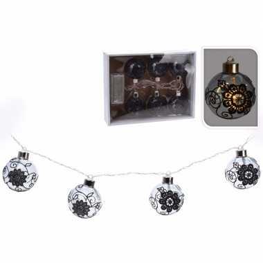 Kerst versiering ballen slinger met led verlichting zwart